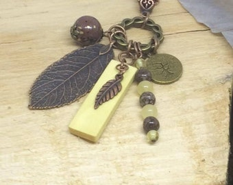 Irish Hazel and Copper Charm Pendant
