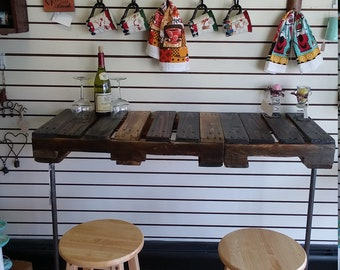 Pallet Pipe Coffee, Wine Bar. Work Station, Desk, Table. Patio, Living Room, Kitchen, Industrial Rustic Decor. Outdoor, Indoor Furniture.