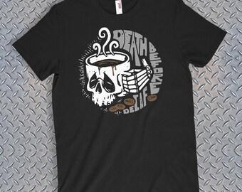 Death Before Decaf Coffee Lover Funny Men's Tshirt Cafe Latte Mocha Mug Skulls Caffeine Beans