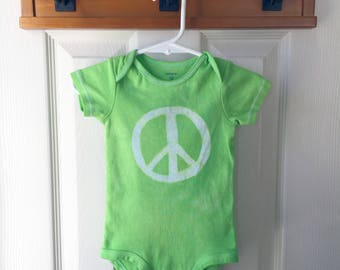 Peace Sign Baby Bodysuit, Green Baby Peace Sign Bodysuit, Peace Sign Baby Gift, Baby Shower Gift, Gender Neutral Baby Gift (12 months)