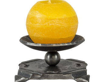 Blacksmith made hand-forged candlestick out of wrought iron - candle holder forged by hand - iron gift