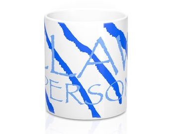 claw mug blue and white