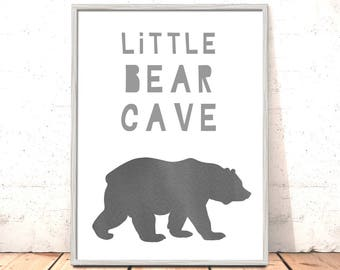 Little Bear Cave Print | Woodland Nursery Art | Scandinavian Nursery Print Bear Nursery Art for Boys Room Nordic Nursery Art