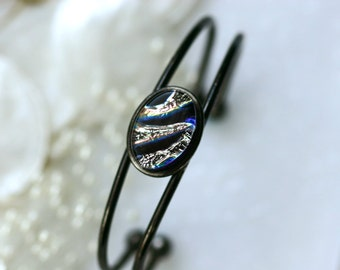 Bangle Bracelet in Black Dichroic Fused Glass BL0019, GetGlassy
