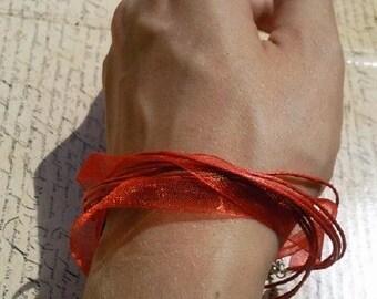 Red versatile satin ribbon thong necklace to bracelet