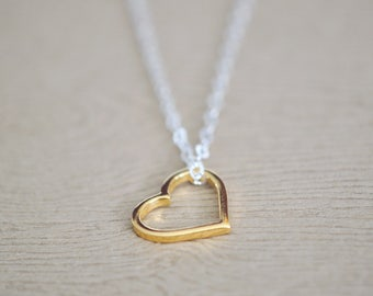 Heart Necklace - Heart Shape Jewelry - Love Jewelry - Gold Heart Pendant - Gift for Mom - Mothers day - Silver and Gold Heart Necklace