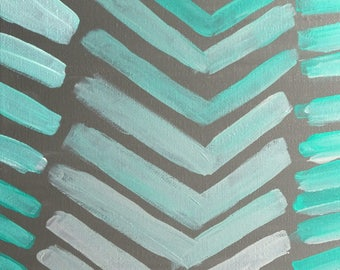 """Gray & Teal Blue Abstract Gradient Chevron Pattern Painting - Acrylic on Canvas - 12"""" x 12"""""""