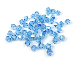 50 x® 4 mm AQUAMARINE AB Swarovski Crystal bicones