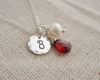 Silver initial and birthstone necklace, Mom necklace, grandma necklace, January baby, January garnet birthstone necklace, custom initial