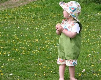 Organic baby summer set Reversible baby romper shorts and sun hat 0-2 years  baby elephant, peacock, baby boy, baby girl birthday gift