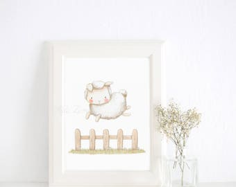 "Nursery Art ""SHEEP JUMPING"" Art Print, Neutral Nursery print, lamb nursery art, lamb Watercolor wall art, Aida Zamora."