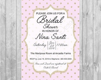 Gold & Pink Bridal Shower Invitation - Digital