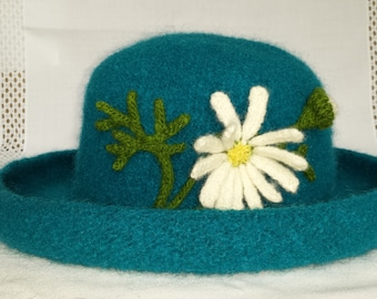 Hand Knit Wool and Mohair Felt Hat in Teal with Daisy CUSTOM ORDER ONLY