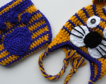 Crocheted LSU Baby Clothes, Newborn to Three Month Old Lsu Baby Clothes, LSU Baby Tiger Hat, Lsu Baby Hat and Diaper Cover, Photo Prop Hat