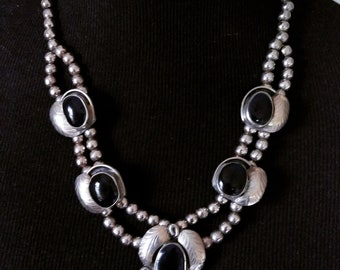 Sterling Silver And Onyx Hecho En Mexico Necklace