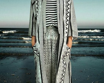 High Fashion Tribal Jacket/Boho long Jacket/Summer Kimono Jacket/Bohemian long Jacket/Bikini cover up/Festival light jacket.