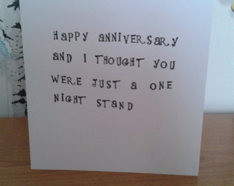 Happy Anniversary Card, Cheeky Card, Funny Card, Stamped Card, Greeting Card, Alternative Card