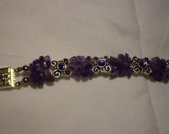Genuine Amethyst Chip and Purple Swirl Swarovski Crystal Bracelet