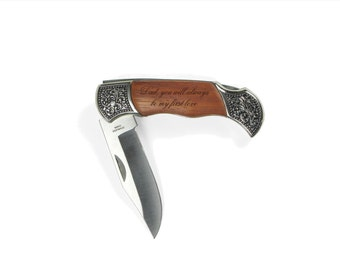 Gift for Father of the Bride Rosewood Pocket Knife Personalized Engraved Keepsake - Gift for Dad