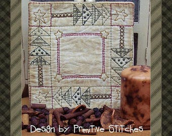 The Quilted Tree Candle Mat by Primitive Stitches-Primitive Stitchery E-Pattern-Instant Download