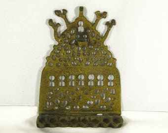 Judaica Vintage Menorah Solid Brass Chanukah Oil Menorah Original Made Israel 1970s