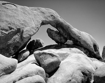 Arch Rock in Black and White - Joshua Tree National Park - California - Landscape - Black and White - 8x10 to 24x36 - Art Print