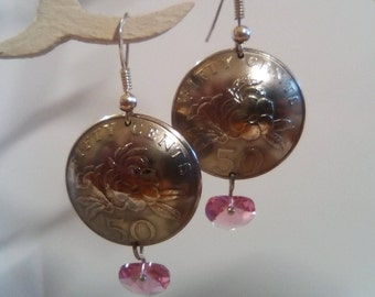 Earrings made of real coins from Singapore 50 cents.