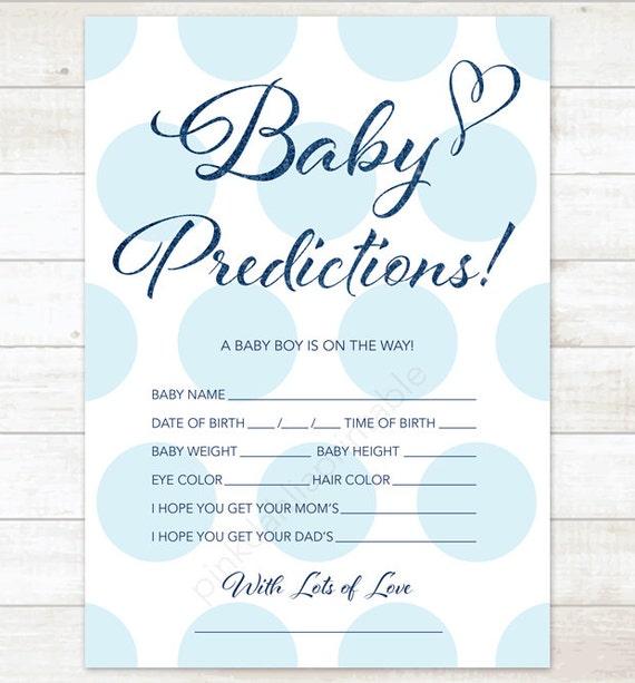 Baby Prediction Card Baby Blue Polka Dots Baby Shower Game DIY