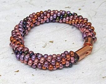 Kumihimo bracelet beaded bracelet purple and rose gold bracelet