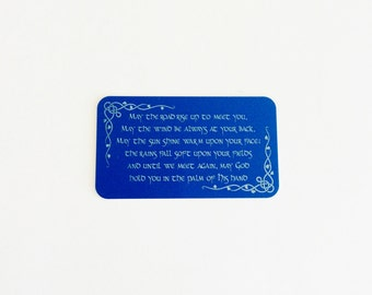 "Celtic Prayer Wallet Insert Card / ""May the road rise up to meet you..."" / Custom Wallet Card / Engraved Wallet Card"