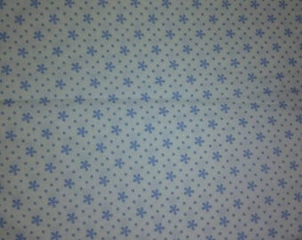 Whit Cotton Fabric with Blue Flowers