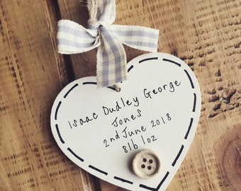 New baby personalised gift neutral girl boy rustic wooden heart keepsake name date birthday weight