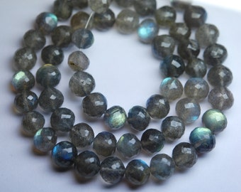 8 Inch Strand, Finest Quality,Blue Flashy Labradorite Faceted Round BALLS Beads,6-7mm