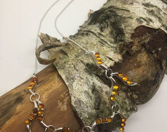 Amber and sterling silver waterfall necklace