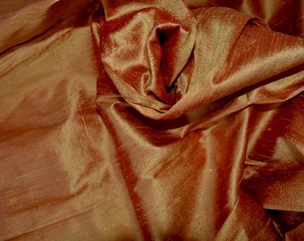 Silk Dupioni in Saffron with red shimmers, Extra wide, Half Yard, DEX 184