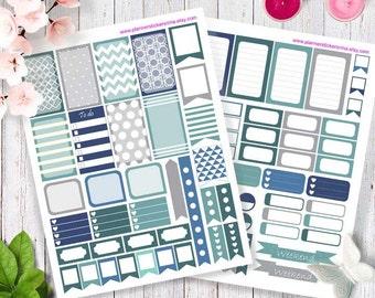 Printable Planner Stickers, Happy planner stickers, Erin Condren stickers, blue