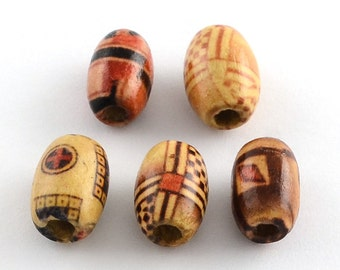 Wooden beads mix 8mm ref PB2016010 oval mixed