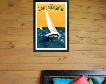 Lake Superior Shore Towns Series: Art Deco Lake Superior Sailing Poster