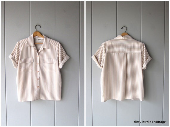 Beige Striped Shirt | Button Up Minimal Top | Oversized 80s White Blouse Vintage Preppy Modern Casual Office Shirt Womens Large 14