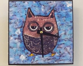 Grey Owl Clock, Woodland, Bird Clock, Whimsical, Handmade Clock, clocks,  6 x 6 inches
