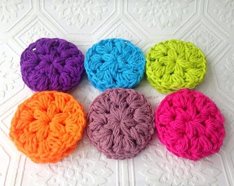 Colorful Cotton Face Scrubby, Handmade Reusable Face Pads, Puffy Face Rounds, Crocheted Face Scrubby, Gifts for Her, Set of 6, Eco Friendly