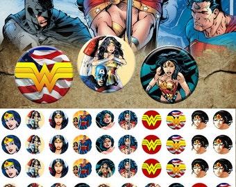 Marvel Wonder Woman  12mm - 1/2 inch  Images 4x6 Digital Collage INSTANT DOWNLOAD
