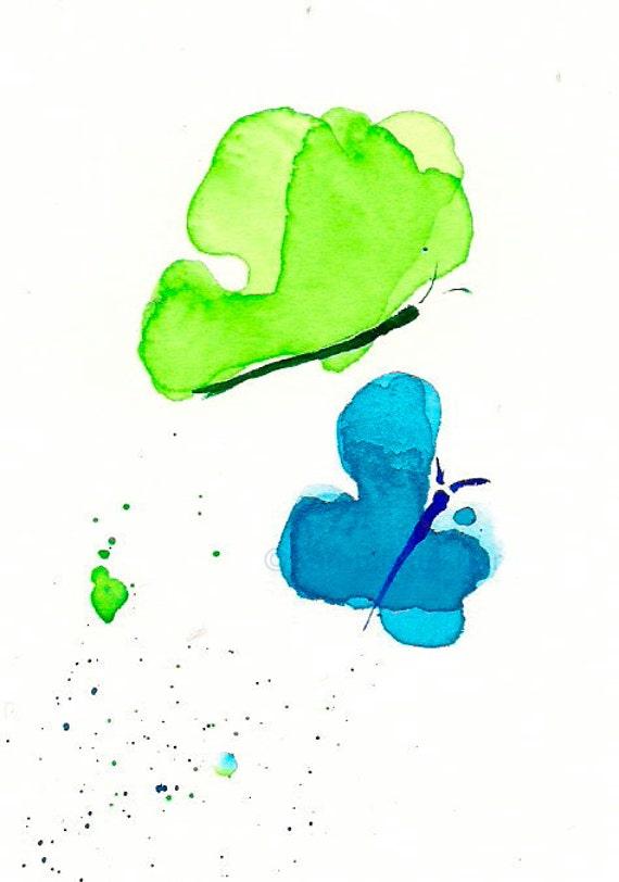 """Watercolor butterflies art print, blue and lime green: """"Butterflies"""""""