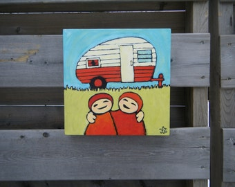 Vintage Trailer Art, Canadian Campers, Red and White Painting, Summer Memories, Boler Owner,  Retirement Gift, Great Outdoors Gift