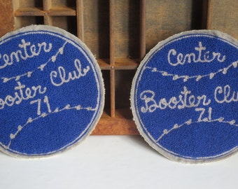 2 VINTAGE Varsity Patches, Center Booster Club, 1971
