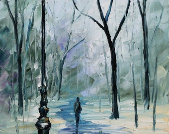 """Gray Wall Art Winter Oil Painting On Canvas By Leonid Afremov - Icy Path. Size: 15"""" X 25"""" (40 cm x 62 cm)"""