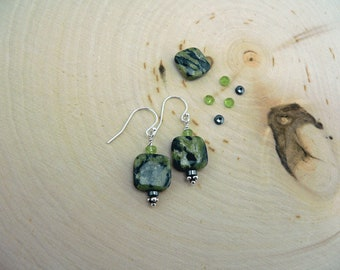 Reiki Healing, Kiwi Jasper Earrings, Peridot,  Hematite, Healing, Chakra balancing, Prosperity, Focus and Memory