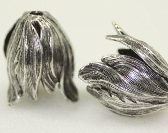 Tulip Cones, Silver Plated Brass, 20x17mm, 1 Pair