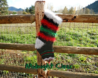 Huge Christmas Stockings, Knitted Christmas Stockings, Midnight Clear, Black stocking
