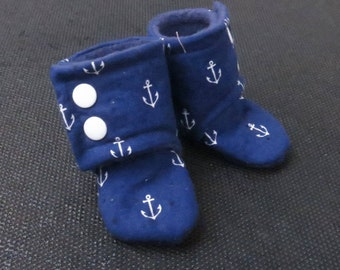 Navy Anchors Stay-On Booties (Newborn, Infant, Toddler, Photo Prop)